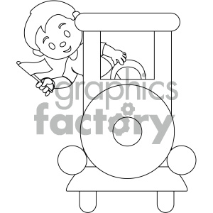 black and white coloring page boy on a train vector illustration clipart. Royalty-free image # 405986