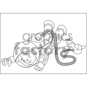 black and white coloring page boy astronaut floating in space vector illustration
