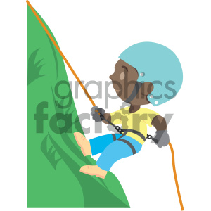 people cartoon child climber climbing mountain african+american