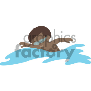african american boy swimming vector illustration
