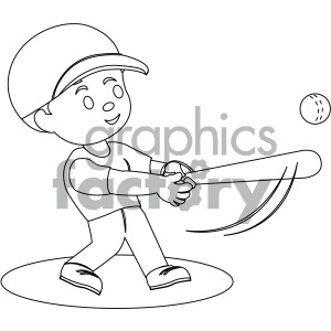 black and white coloring page boy hitting a baseball vector illustration clipart. Commercial use image # 406017