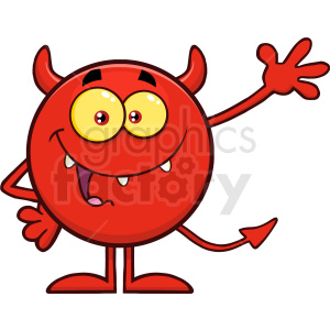 Happy Devil Cartoon Emoji Character Waving For Greeting Vector Illustration Isolated On White Background