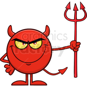 Red Devil Cartoon Emoji Character Holding A Pitchfork Vector Illustration Isolated On White Background clipart. Commercial use image # 406125