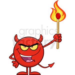 Smiling Red Devil Cartoon Emoji Character Holding Up A Flaming Match Vector Illustration Isolated On White Background clipart. Royalty-free image # 406135