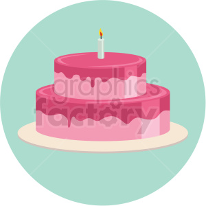 two layer cake vector flat icon clipart with circle background