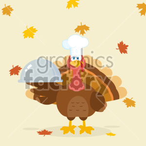 Turkey Chef Cartoon Mascot Character Holding A Cloche Platter Vector Illustration Flat Design Over Background With Autumn Leaves
