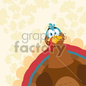 Thanksgiving Turkey Bird Cartoon Mascot Character Peeking From A Corner Vector Illustration Flat Design Over Background With Autumn Leaves clipart. Royalty-free image # 406958