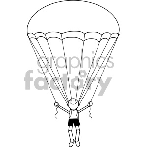 black and white parachuter clipart. Royalty-free image # 406988