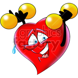 cartoon heart exercising character clipart. Commercial use image # 407004