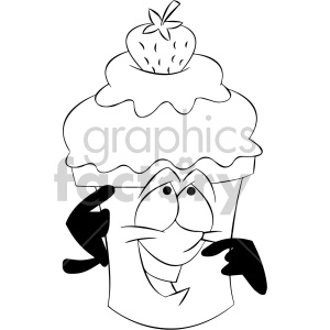 black and white cartoon ice cream mascot character with a strawberry on top