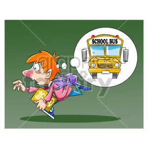 cartoon child kid boy running late school school+bus