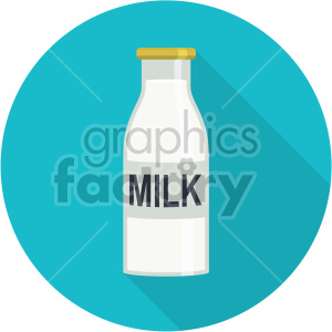 glass milk bottle on blue circle background flat icons clipart. Commercial use image # 407162