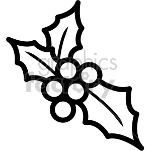 black and white christmas holly berries vector icon clipart. Royalty-free icon # 407232
