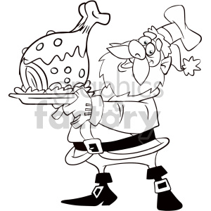 black and white cartoon santa holding dinner for christmas coloring page clipart. Commercial use image # 407351