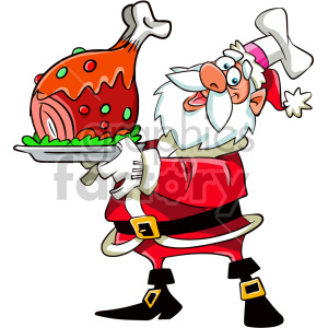 cartoon santa holding dinner for christmas clipart. Commercial use image # 407362