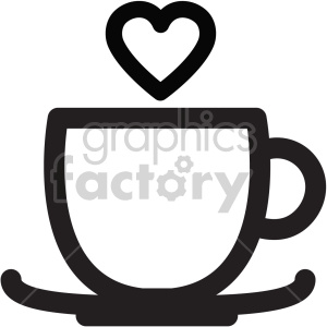black and white lovely coffee cup with heart steam clipart. Commercial use icon # 407458