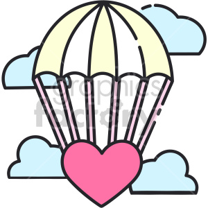 heart parachute vector icon clipart. Royalty-free image # 407466