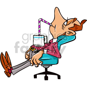 tired man sitting in office chair cartoon character clipart. Royalty-free image # 407532