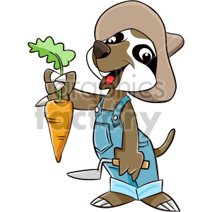 cartoon sloth character farmer carrot garden
