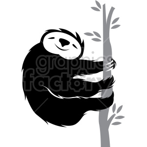 sloth climbing on a tree clipart. Commercial use image # 407585