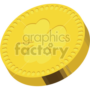 st patricks day gold coin with shamrock no background clipart. Commercial use image # 407694