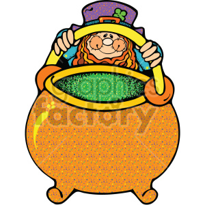 leprechaun with pot of gold 002 c clipart. Commercial use image # 407696