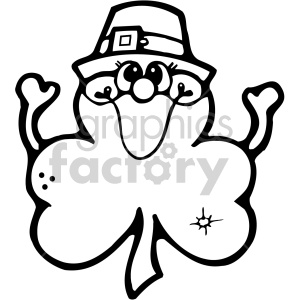 st+patricks+day irish clover shamrock cartoon character black+white