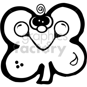 st+patricks+day irish clover shamrock four+leaf+clover cartoon character black+white