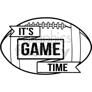 football game+time ribbon sports black+white rg