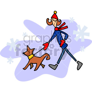 lady walking her dog in the winter clipart. Royalty-free image # 155261
