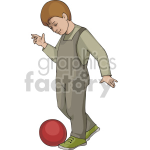 Little boy in gray bib overalls and green tennis shoes kicking a red ball clipart. Commercial use image # 155397