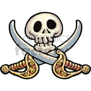 cartoon skull and swords