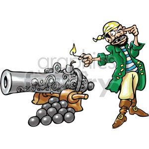 pirate lighting a cannon clipart. Commercial use image # 407814