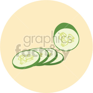 sliced cucumber on yellow circle background clipart. Royalty-free image # 407980