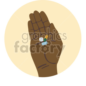 african american hand holding pills yellow background clipart. Commercial use image # 408217