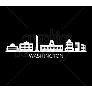 washington city skyline vector design with label on black