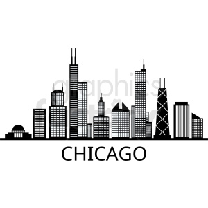 black and white chicago city vector skyline with title clipart. Commercial use image # 408625