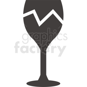 cracked wine glass outline clipart. Commercial use image # 408677
