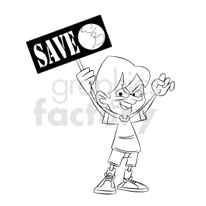 black and white cartoon protestor protesting to save earth clipart. Commercial use image # 409309