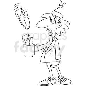 black and white homeless man receiving shoes for tips clipart. Commercial use image # 409316