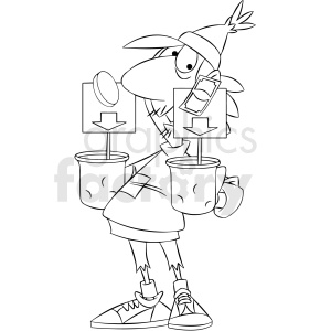 black and white homeless man holding cups for tips clipart. Commercial use image # 409319
