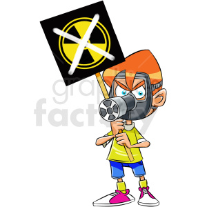 cartoon protestor protesting toxic radiation