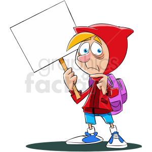 cartoon refugee holding blank sign no background clipart. Commercial use image # 409326