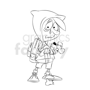 black and white cartoon refugee sad because of ripped teddy bear clipart. Commercial use image # 409327