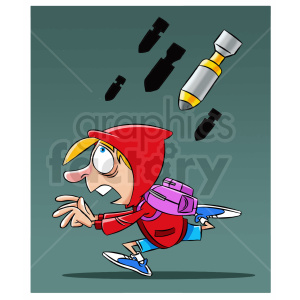 cartoon refugee being bombed clipart. Commercial use image # 409328