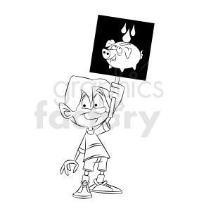 black and white cartoon protestor clipart. Commercial use image # 409336