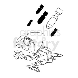 black and white cartoon refugee being bombed clipart. Royalty-free image # 409339