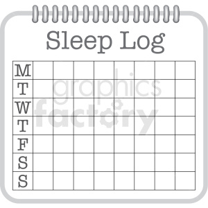 7 day sleep log digital planner sticker clipart. Royalty-free image # 409357