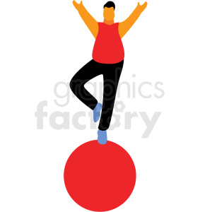 cartoon man balancing on ball flag vector clipart clipart. Royalty-free image # 409662