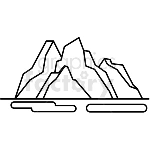 black and white mountain icon clipart. Royalty-free image # 409808